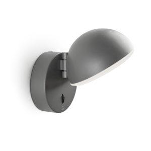 Halbrunde Wandlampe mit Schalter schwarz